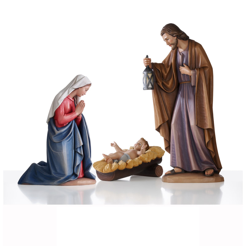 Holy Family Nativity Statue Fiberglass Plaster Wood Carved