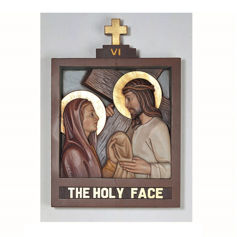 Stations of the Cross Statue Fiberglass Plaster Wood Carved